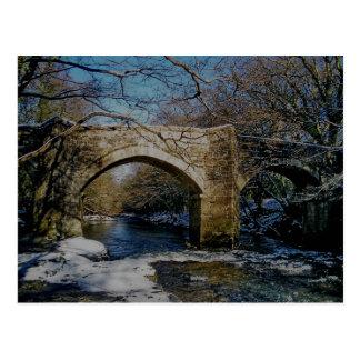 Dartmoor river dart Holne new bridge winter scene Postcard