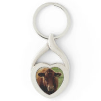 Dartmoor South Devon Cow Looking Keychain