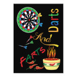 """Darts and Farts New Dad Baby Shower 5"""" X 7"""" Invitation Card"""