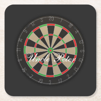 Darts Dartboard Monogram Name Square Paper Coaster