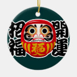 Daruma Doll Double-Sided Ceramic Round Christmas Ornament