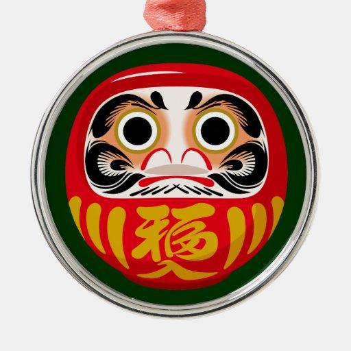 Daruma Doll Round Metal Christmas Ornament