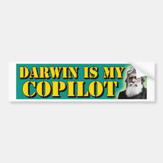 Darwin es mi copiloto pegatina para auto