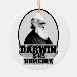 Darwin es mi Homeboy Adorno Navideño Redondo De Cerámica