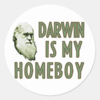 Darwin es mi homeboy pegatina redonda