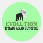 Darwin evolution classic round sticker
