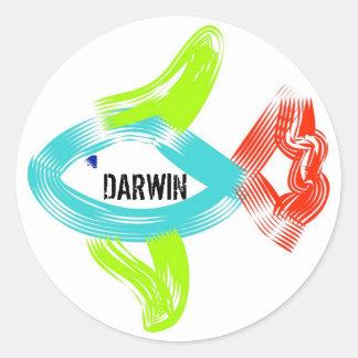 Darwin fish classic round sticker