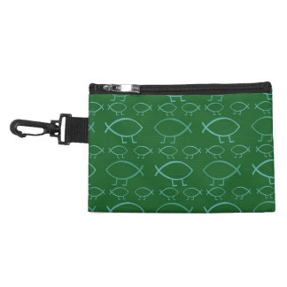 Darwin Fish (on Green) Travel Accessory Clip-On Ba Accessories Bags