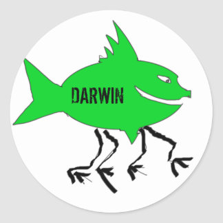 Darwin fish round stickers