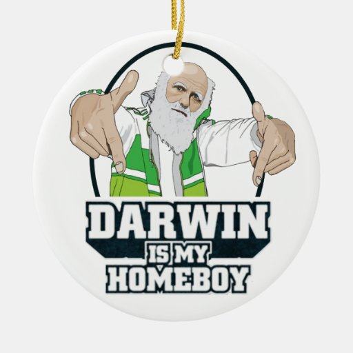 Darwin Is My Homeboy (Full Color) Double-Sided Ceramic Round Christmas Ornament