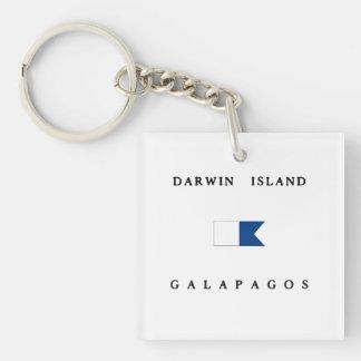 Darwin Island Galapagos Alpha Dive Flag Keychain