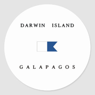 Darwin Island Galapagos Alpha Dive Flag Round Sticker