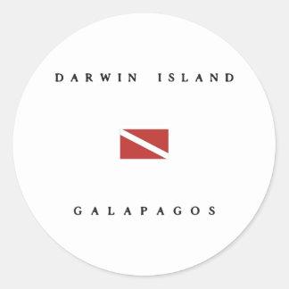 Darwin Island Galapagos Scuba Dive Flag Classic Round Sticker