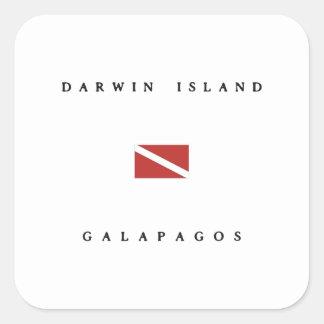 Darwin Island Galapagos Scuba Dive Flag Square Sticker