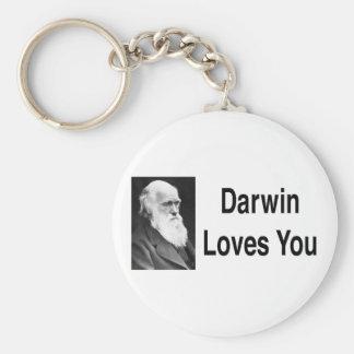 Darwin le ama 2 llavero redondo tipo pin