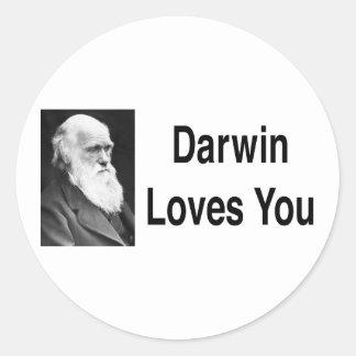 Darwin le ama 2 pegatina redonda