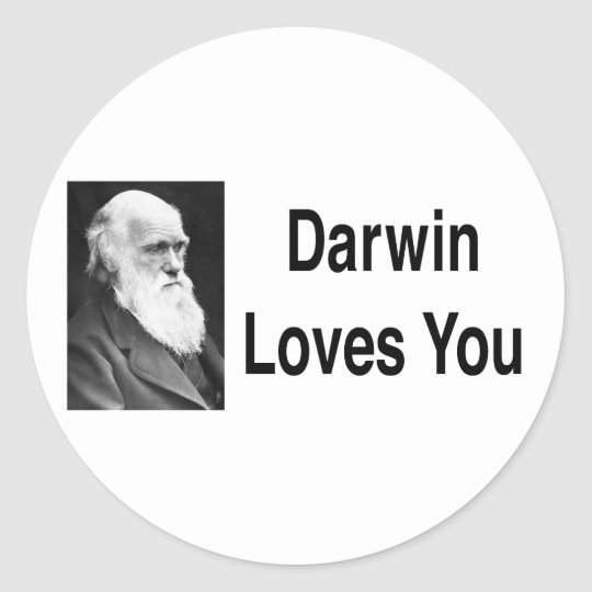Darwin Loves You 2 Classic Round Sticker