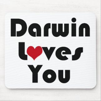 Darwin Loves You atheist Mouse Pad
