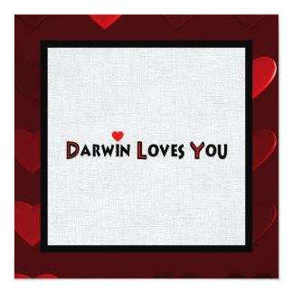 Darwin Loves You 5.25x5.25 Square Paper Invitation Card