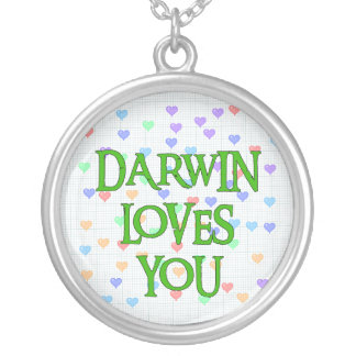 Darwin Loves You Round Pendant Necklace