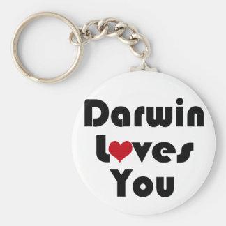 Darwin Lves You Basic Round Button Keychain