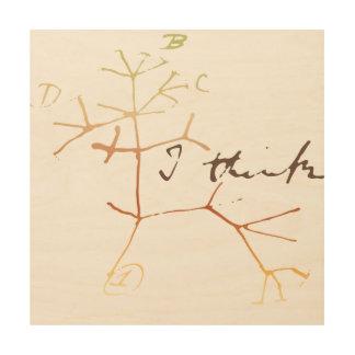 Darwin, pienso el árbol en vida impresiones en madera