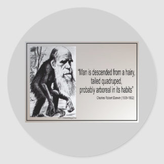 Darwin Quote ~ Man is Descended From a Hairy Classic Round Sticker