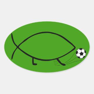 Darwin Soccer Kick Oval Sticker