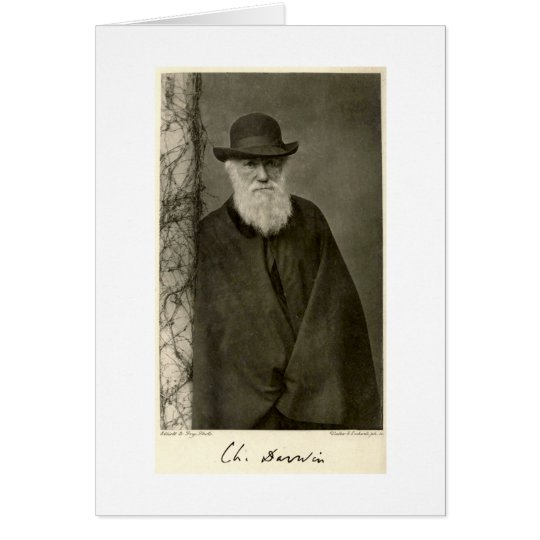 Darwin standing next to a pillar, published 1908 card