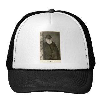 Darwin standing next to a pillar, published 1908 trucker hat