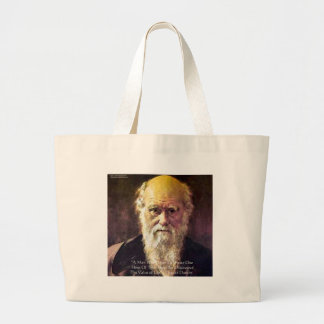 "Darwin ""Value Of Life"" Wisdom Quote Gifts & Cards Large Tote Bag"