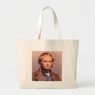 "Darwin ""Value Of Life"" Wisdom Quote Gifts Tees Etc Large Tote Bag"