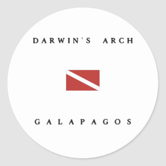 Darwin's Arch Galapagos Scuba Dive Flag Classic Round Sticker