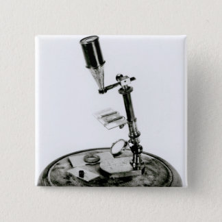 Darwin's microscope pinback button