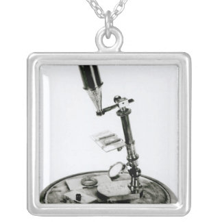 Darwin's microscope silver plated necklace