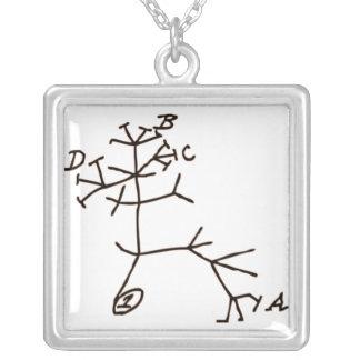 Darwin's Tree Square Pendant Necklace