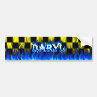 Daryl blue fire and flames bumper sticker design.