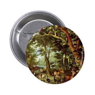 Das Paradies en enero Brueghel la anciano (el mejo Pin Redondo De 2 Pulgadas