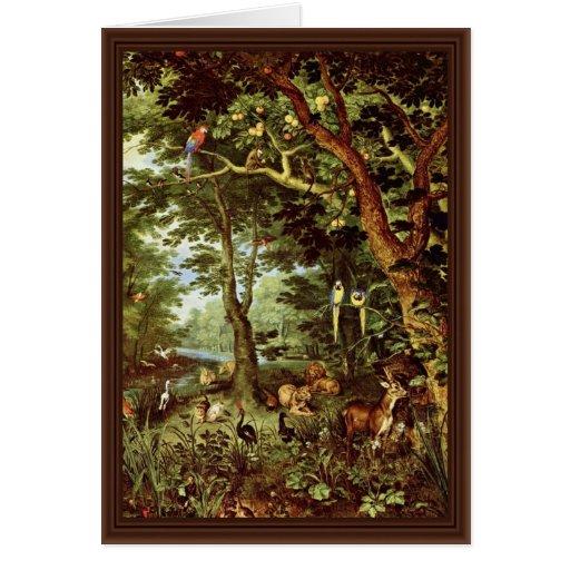 Das Paradies en enero Brueghel la anciano (el mejo Tarjetón