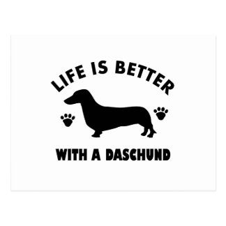 daschund dog design postcard