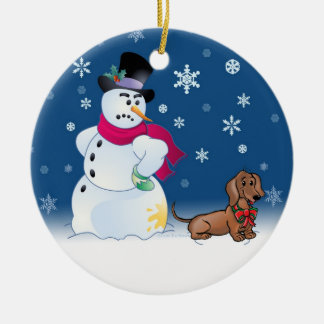 Daschund puppy and Snowman Double-Sided Ceramic Round Christmas Ornament