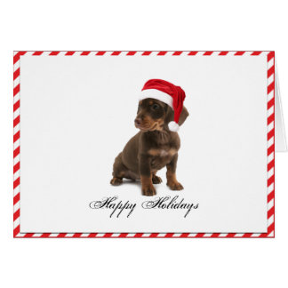 Daschund Puppy Dog in Santa Hat Christmas Card
