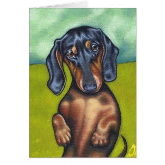 Daschund Puppy love greeting card