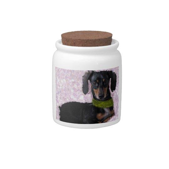 Daschund Wiener dog pink green fantasy Candy Jar