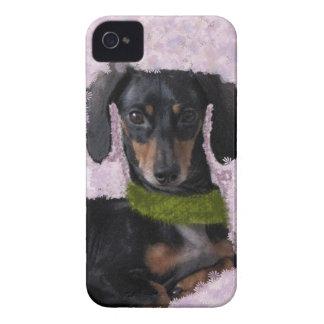 Daschund Wiener dog pink green fantasy iPhone 4 Case-Mate Cases