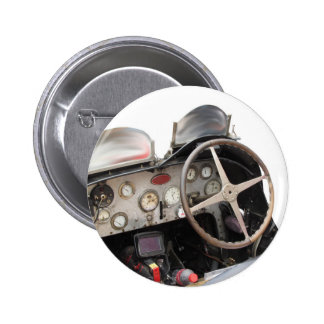 Dashboard and steering wheel of classic sport car 2 inch round button