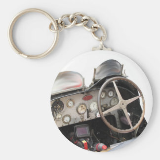 Dashboard and steering wheel of classic sport car basic round button keychain