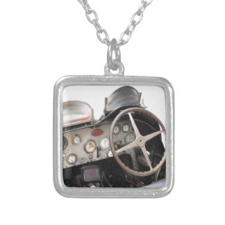 Dashboard and steering wheel of classic sport car square pendant necklace