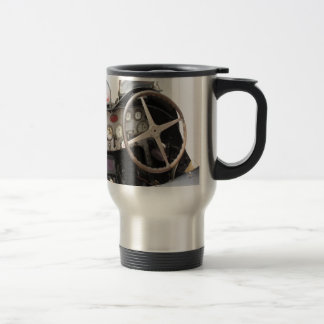 Dashboard and steering wheel of classic sport car travel mug