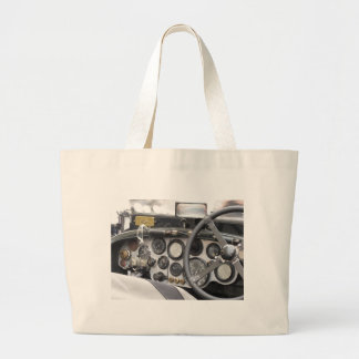Dashboard of british classic sport car large tote bag